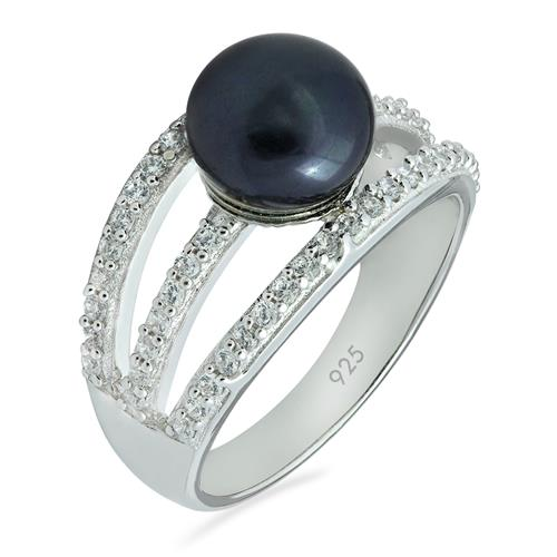 FRESH WATER PEARL RING WITH WHITE ZIRCON #VR09405