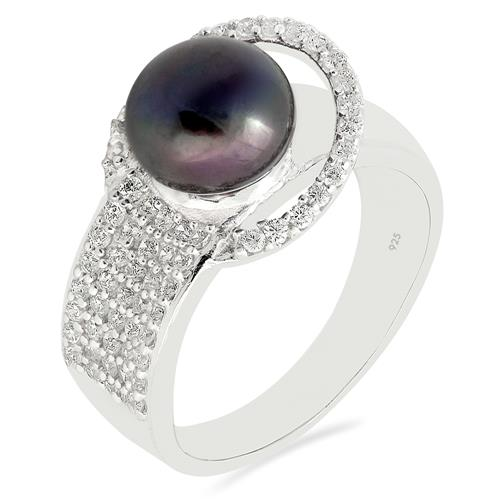 FRESHWATER BLACK PEARL RING WITH ZIRCON