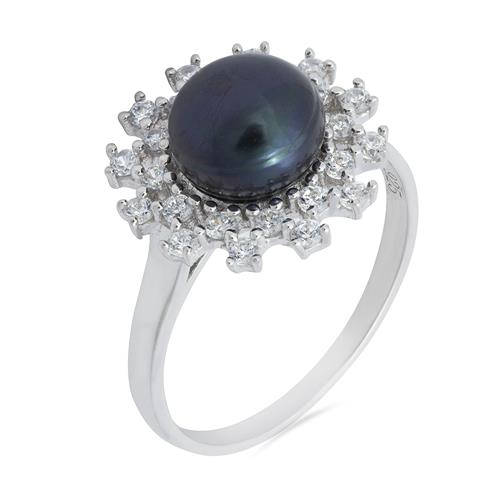 BLACK PEARL RING WITH WHITE ZIRCON