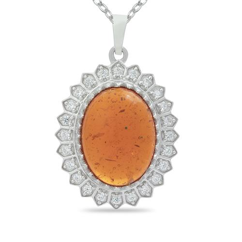 SYNTHETIC AMBER PENDANT WITH ZIRCON #VP014419