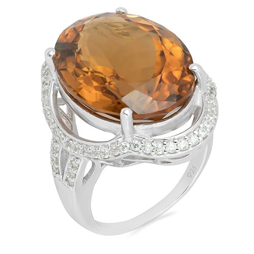 WHISKY QUARTZ RING WITH WHITE ZIRCON #VR09093