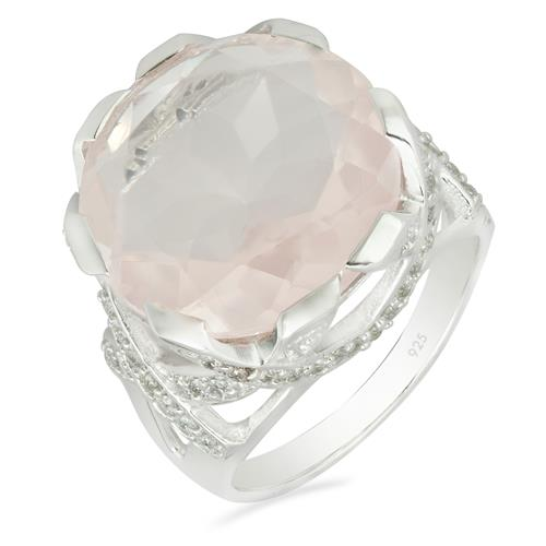 ROSE QUARTZ RING WITH WHITE ZIRCON #VR09193