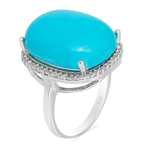 SYNTHETIC TURQUOISE  RING WITH WHITE ZIRCON #VR09964
