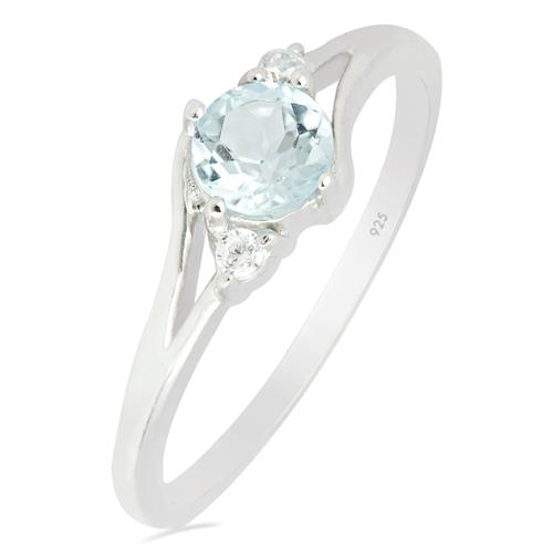 SKY BLUE TOPAZ RING WITH WHITE ZIRCON #VR012083