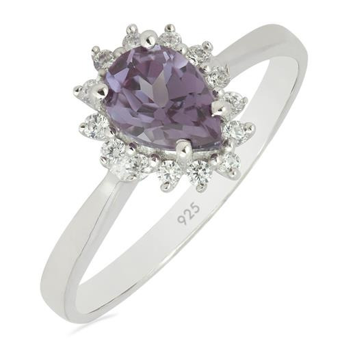 SYNTHETIC ALEXANDERITE RING WITH WHITE ZIRCON ZIRCON #VR010695