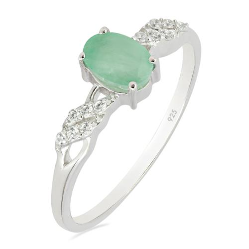 EMERALD RING WITH WHITE ZIRCON #VR012087