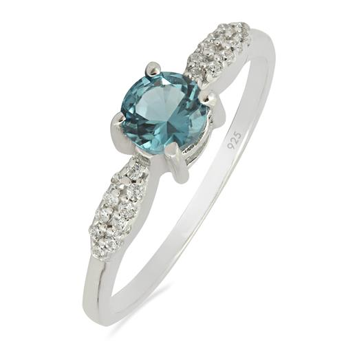 SWISS BLUE TOPAZ RING WITH ZIRCON #VR09265