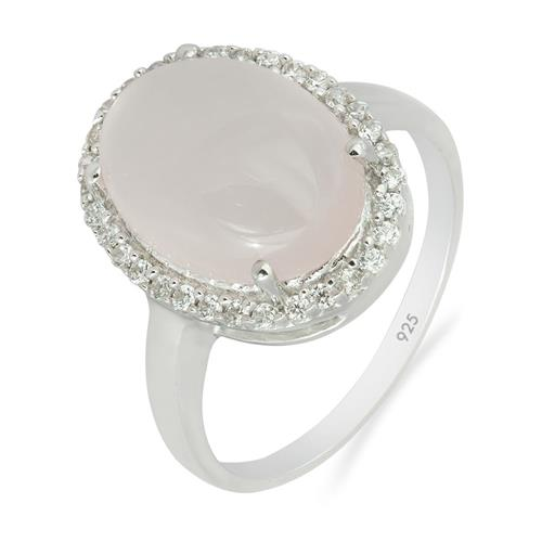 ROSE QUARTZ RING WITH ZIRCON  #VR06931
