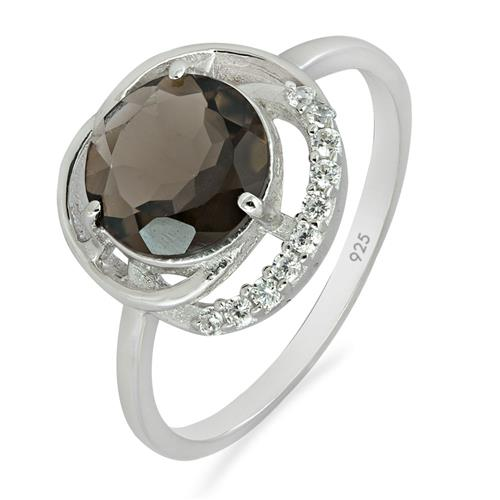 SMOKY RING WITH WHITE ZIRCON #VR08284