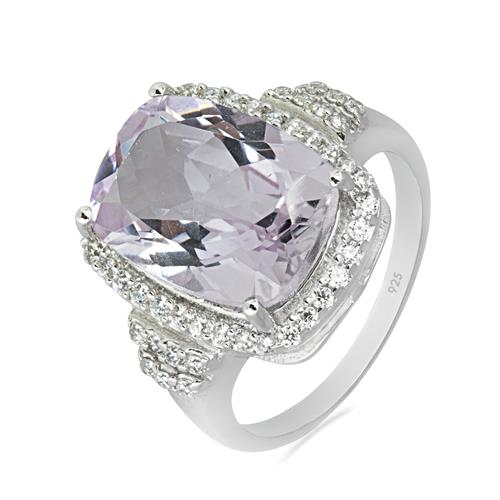 PINK AMETHYST RING WITH ZIRCON #VR08841