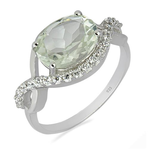 GREEN AMETHYST RING WITH WHITE ZIRCON ZIRCON #VR06149