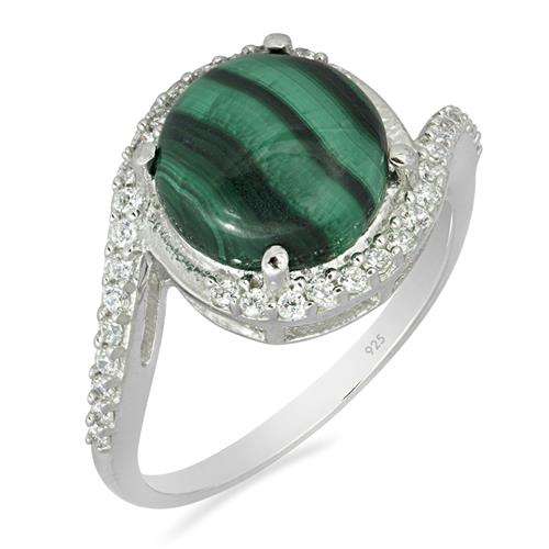 MALACHITE RING WITH WHITE ZIRCON #VE010276