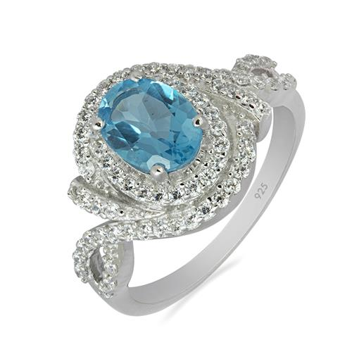 SWISS BLUE TOPAZ RING WITH WHITE ZIRCON #VR010189