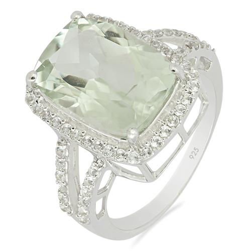 GREEN AMETHYST RING WITH ZIRCON #VR012957