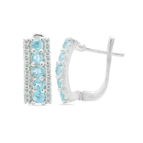 SKY BLUE TOPAZ EARRING WITH ZIRCON #VE06178