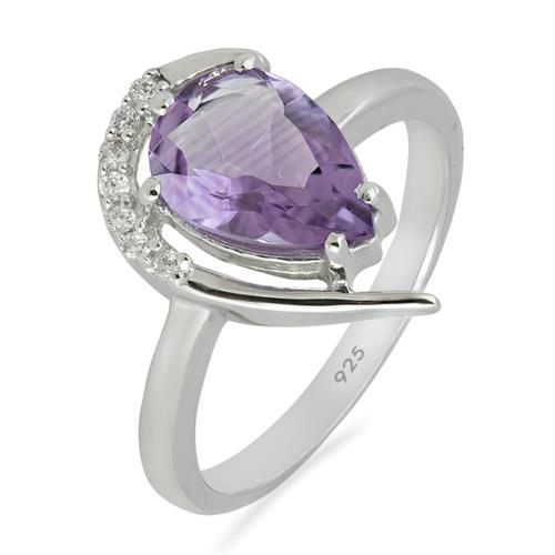 BRAZILIAN AMETHYST RING WITH ZIRCON #VR07045