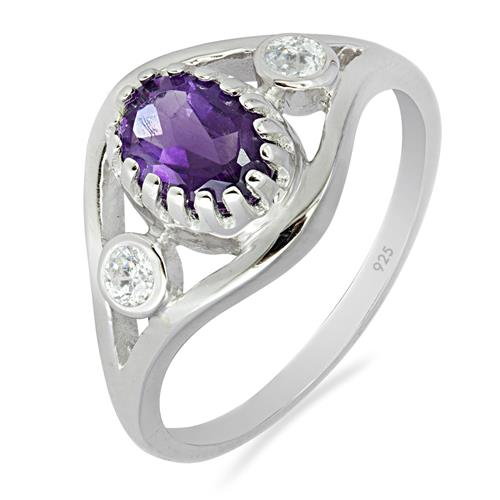AFRICAN AMETHYST RING WITH WHITE ZIRCON #VR07591