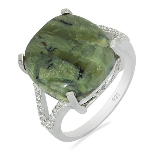 GREEN OPAL RING WITH ZIRCON