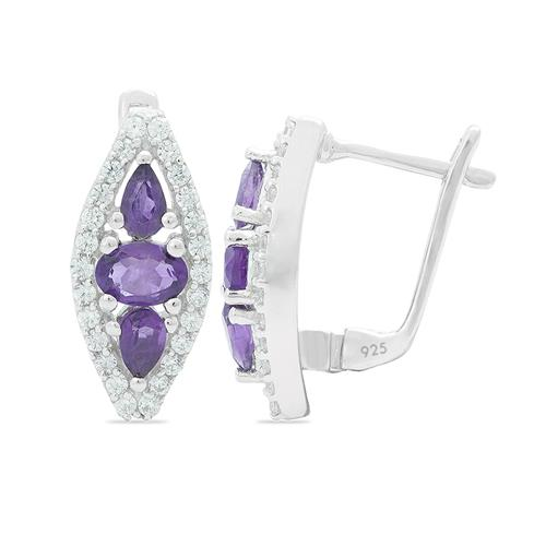AFRICAN AMETHYST EARRING WITH ZIRCON