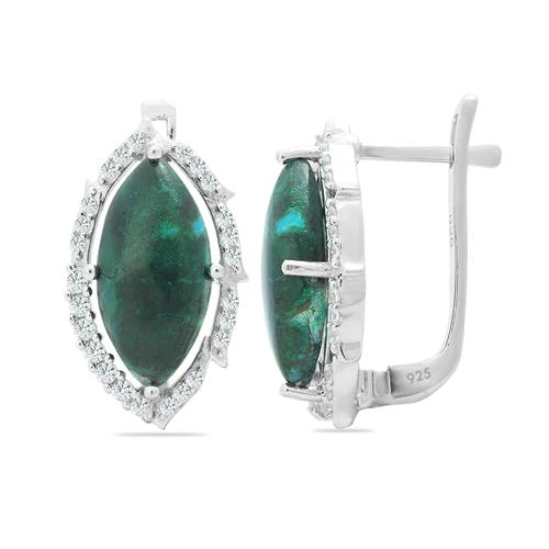 CHRYSOCOLLA EARRING WITH ZIRCON