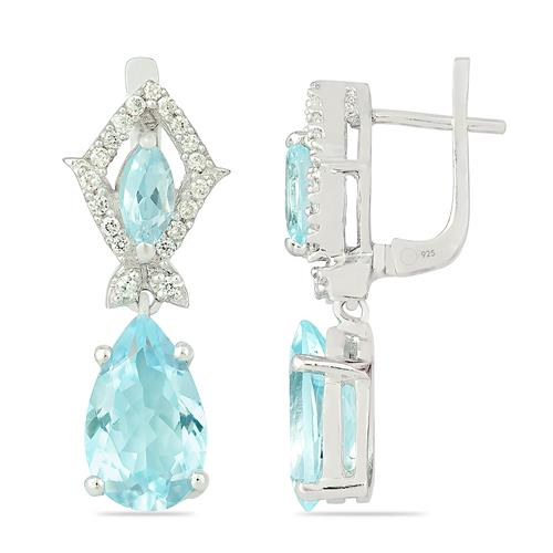SKY BLUE TOPAZ EARRING WITH ZIRCON #VE05560