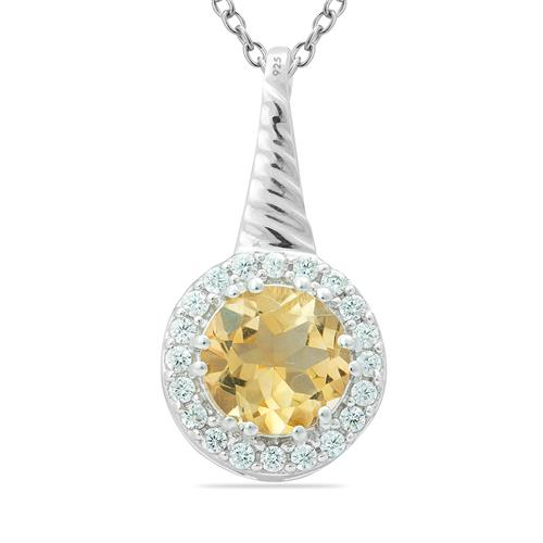 CITRINE PENDANT WITH ZIRCONS #VP08029