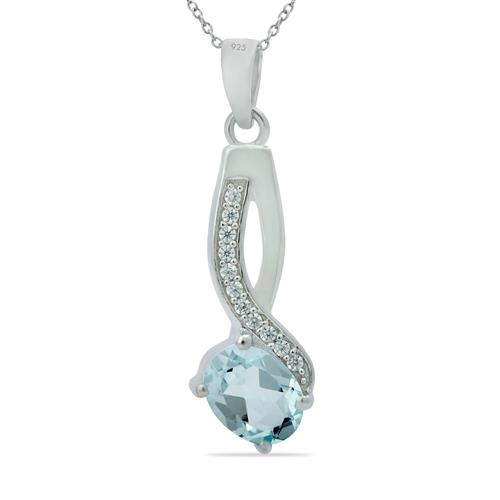 SKY BLUE TOPAZ PENDANT WITH ZIRCONS