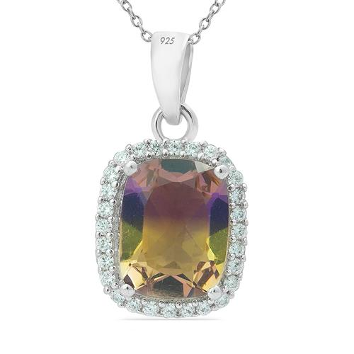 SYNTHETIC AMETRINE PENDANT WITH ZIRCON  #VP010890