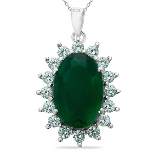 GREEN AGATE PENDANT WITH ZIRCON