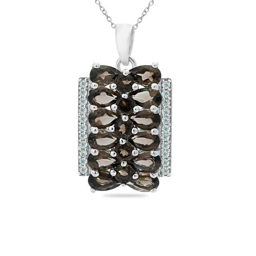 SMOKY PENDANT WITH WHITE ZIRCON #VP09681