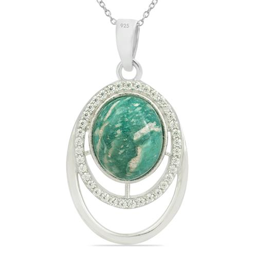 AMAZONITE PENDANT WITH ZIRCONS