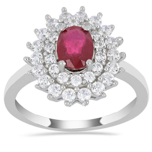 0.72 CT KARNATAKA RUBY SILVER RING #VR014792