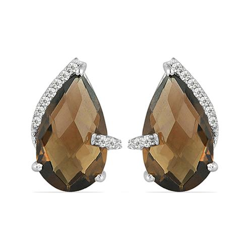 SMOKY SILVER EARRING WITH WHITE ZIRCON #VE07122