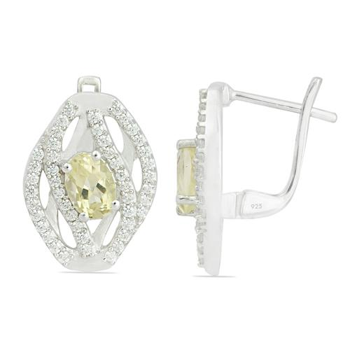 LEMON TOPAZ EARRING WITH ZIRCON #VE014337