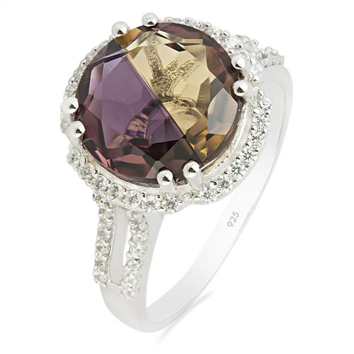 SYNTHETIC AMETRINE RING WITH ZIRCON #VR013705
