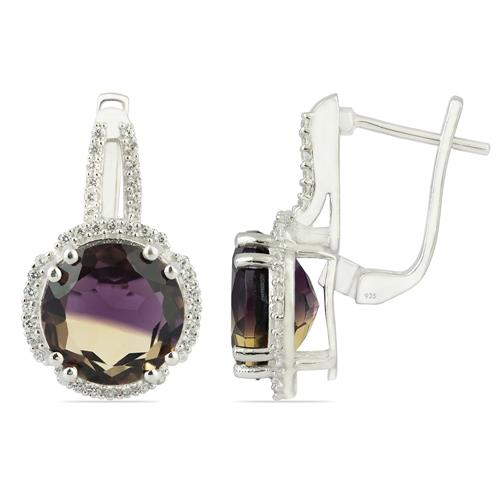 SYNTHETIC AMETRINE EARRING WITH ZIRCON #VE013705