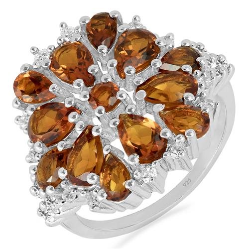 MADEIRA CITRINE RING WITH ZIRCON
