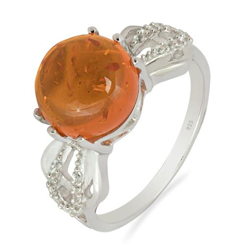 AMBER RING WITH ZIRCON