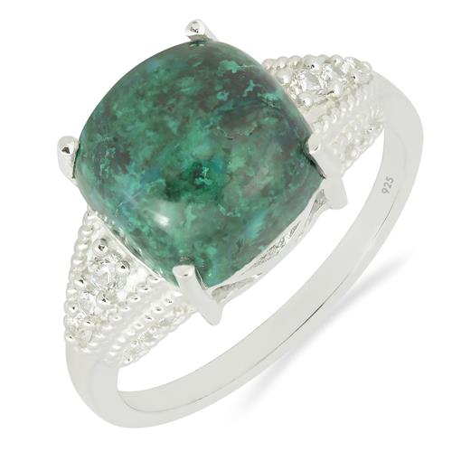 CHRYSOCOLLA RING WITH ZIRCON
