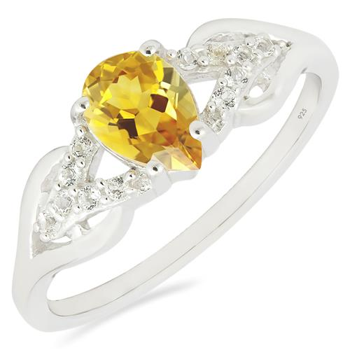CITRINE RING WITH ZIRCON
