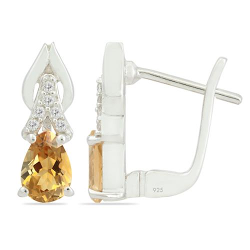 CITRINE EARRING WITH ZIRCON