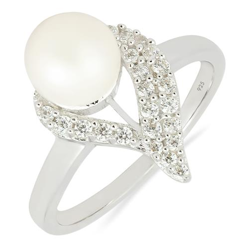 PEARL RING WITH ZIRCON