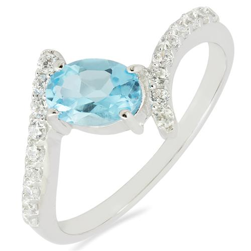 SWISS BLUE TOPAZ RING WITH ZIRCON