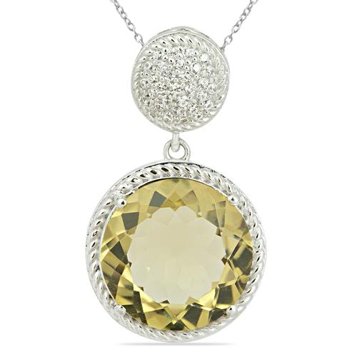 LEMON TOPAZ PENDANT WITH ZIRCON