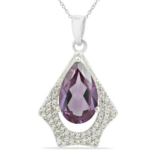 SYNTHETIC ALEXANDERITE PENDANT WITH ZIRCON