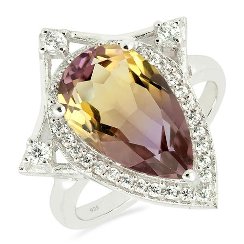 SYNTHETIC AMETRINE RING WITH ZIRCON