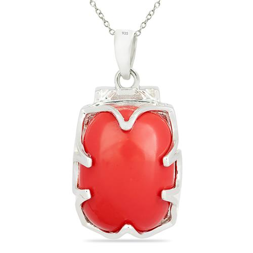 COMPRESSED RED CORAL PENDANT