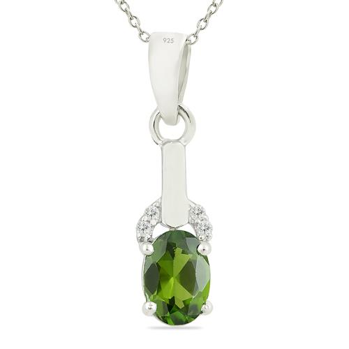 CHROME DIOPSITE PENDANT WITH ZIRCON
