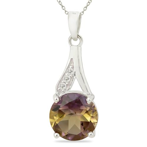 SYNTHETIC AMETRINE PENDANT WITH ZIRCON