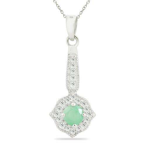 EMERALD PENDANT WITH ZIRCON